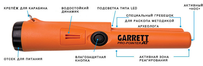 Garrett PRO Pointer AT - описание элементов